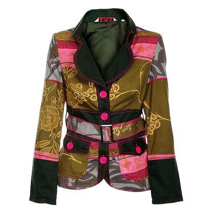 Dámský krátký kabátek se zeleným límcem Savage Culture