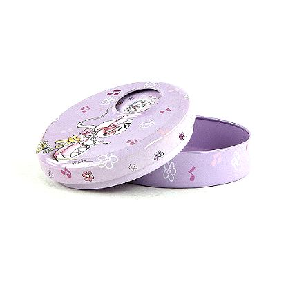 Nádherná otočná šperkovnička kulatého tvaru s motivem myšky Diddliny v podobě baletky, barva fialová.