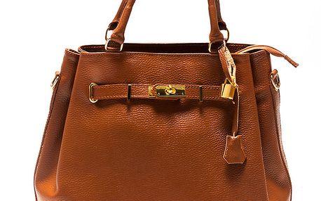 Dámská koňaková kožrná kabelka se zlatým zámečkem Sonia Ricci