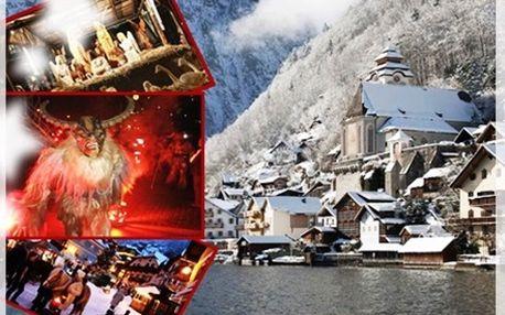 Rej čertů a advent v Rakousku. 700 čertů v Solné komoře a nejmalebnější městečko Rakouska Hallstatt (UNESCO).