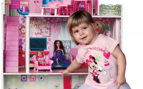Dřevěný třípatrový domeček pro panenky typu Barbie
