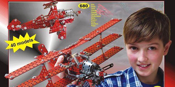 Kovová stavebnice Merkur Red Baron 40 modelů 680ks