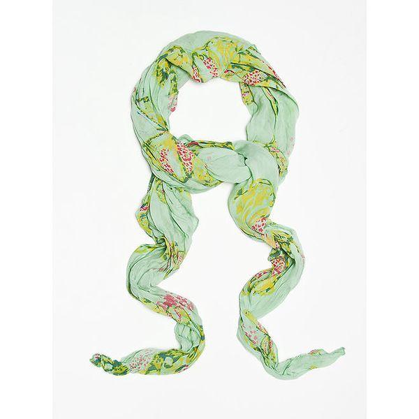 Dámský zelený šátek s potiskem motýlů