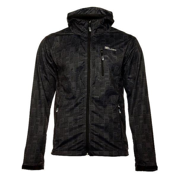 Pánská antracitová softshellová bunda Loap s černým potiskem