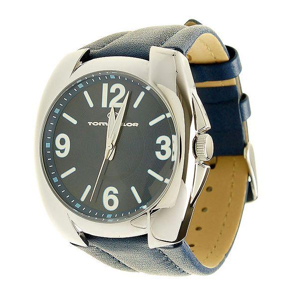Pánské zářivě modré hodinky Tom Tailor s koženým řemínkem
