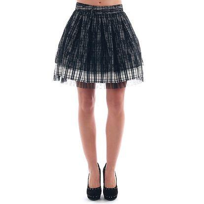 Dámská nabíraná kostkovaná sukně s krajkou Nolita