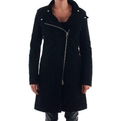 Dámský černý kabát na zip Nolita