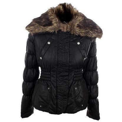 Dámská černá bunda s kožíškem Nolita