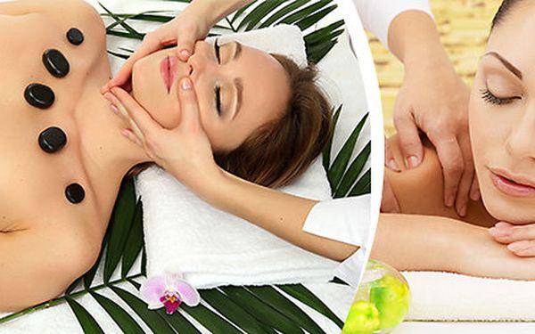 2x 45 minut - relaxační masáže zad a obličeje, šíje, dekoltu, trapézu lávovými kameny