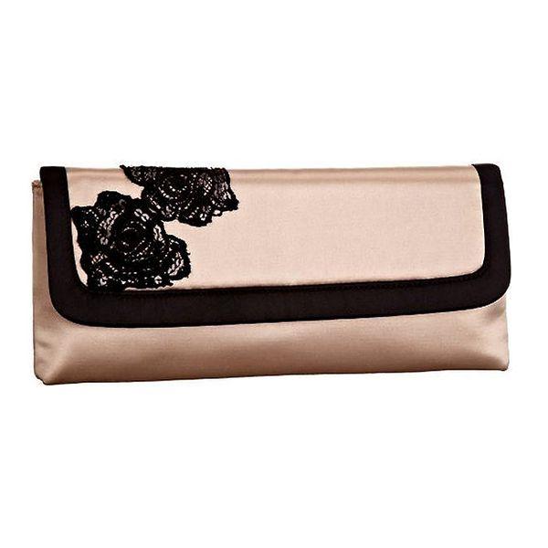 Dámské růžovo-černé psaníčko s flitrovými kvítky Menbur