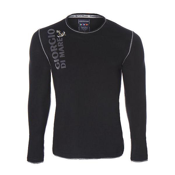 Pánské černé tričko s dlouhými rukávy Giorgio di Mare