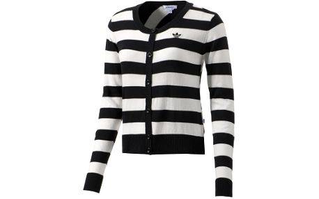 Dámský lifestylový pruhovaný svetr - Adidas STR CARDIGAN ze 100% bavlny