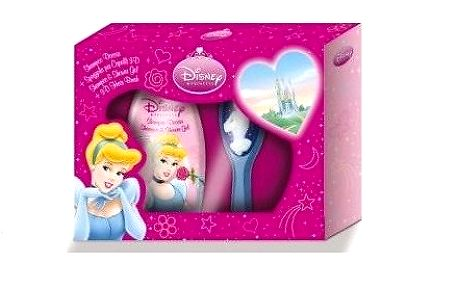 Princess dárková sada - Šampón & sprchový gel 2v1 300ml + 3D kartáč na vlasy
