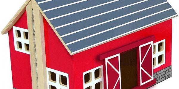 Woody Červená prostorná farma pro domácí zvířátka/ kufřík