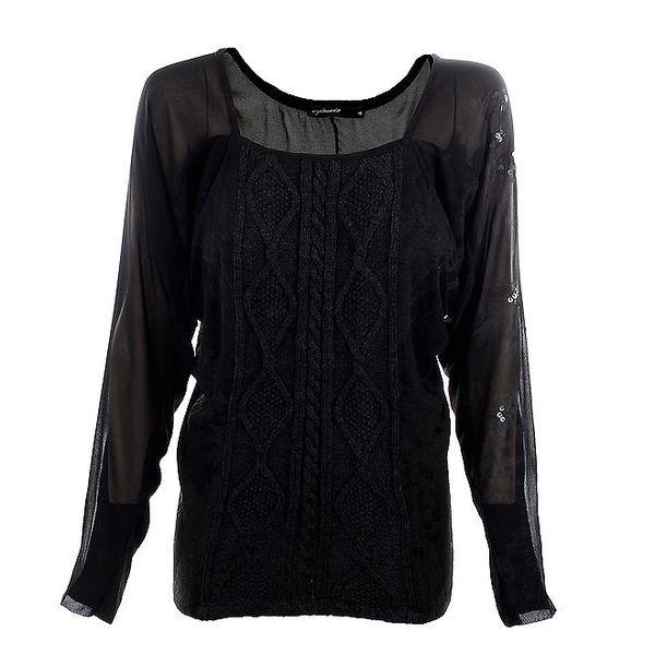 Dámský černý svetr s transparentními rukávy Angels Never Die