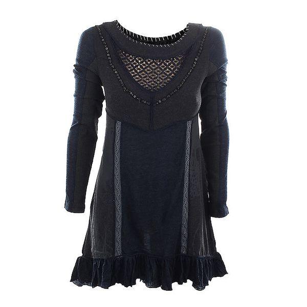 Dámské tmavě modré šaty s transparentním dekoltem Angels Never Die