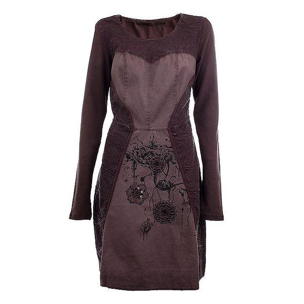Dámské tmavě fialové šaty s výšivkami Angels Never Die