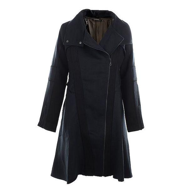Dámský tmavě modrý vlněný kabát