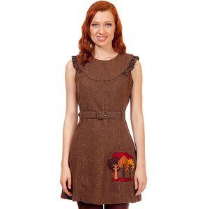 Dámské hnědé tvídové šaty s páskem Rosalita McGee