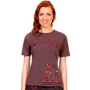 Dámské hnědo-červené tričko s výšivkou Rosalita McGee