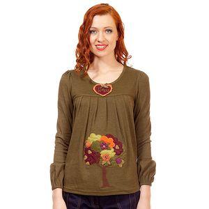 Dámský khaki top s barevnou aplikací Rosalita McGee