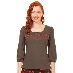Dámské khaki tričko s cik cak vzorem Rosalita McGee
