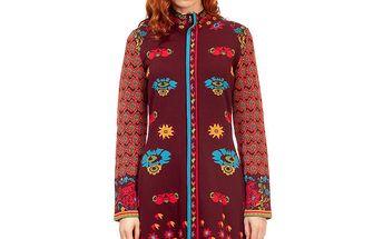 Dámský vínovo-červený kabátek s tyrkysovými detaily Rosalita McGee