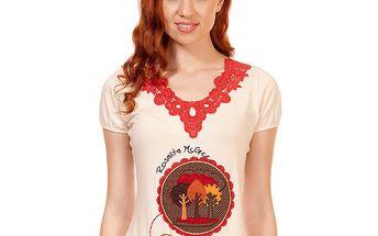 Dámské krémové tričko s krajkovým výstřihem Rosalita McGee