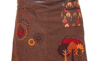 Dámská hnědá sukně s podzimními stromky Rosalita McGee