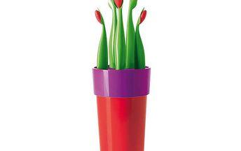 Sada 5ti nožů se stojanem tvaru květináče (více barev) co rozveselí vaši kuchyň