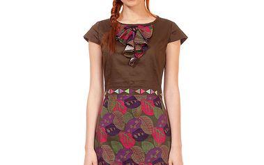 Dámské hnědé šaty s lístky Rosalita McGee