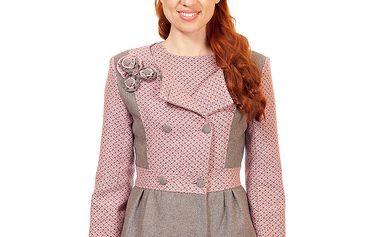 Dámský růžové sako s květinkovou aplikací Rosalita McGee