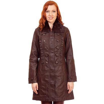 Dámský hnědý kabát s kožešinkou Rosalita McGee
