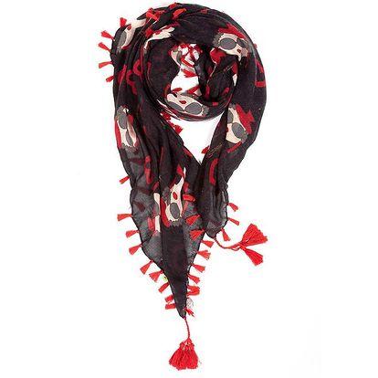 Dámský černý šátek s potiskem a třásněmi Rosalita McGee