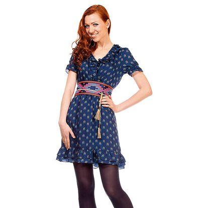 Dámské tmavě modré šaty s volánky Rosalita McGee