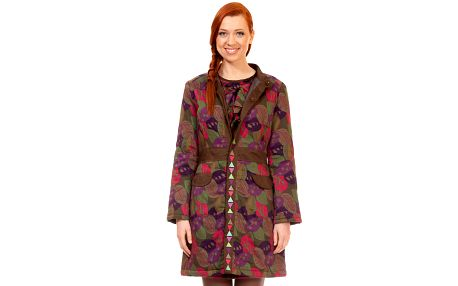 Dámský hnědý kabát s barevnými lístka Rosalita McGee