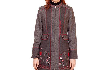 Dámský hnědo-šedý kabát s výšivkou Rosalita McGee