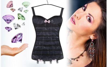 Praktický organizér na šperky za 89 Kč!! Pohodlné a praktické uložení šperků v organizéru s vtipným designem a možností zavěsit do skříně. Praktický pomocník pro každou ženu.