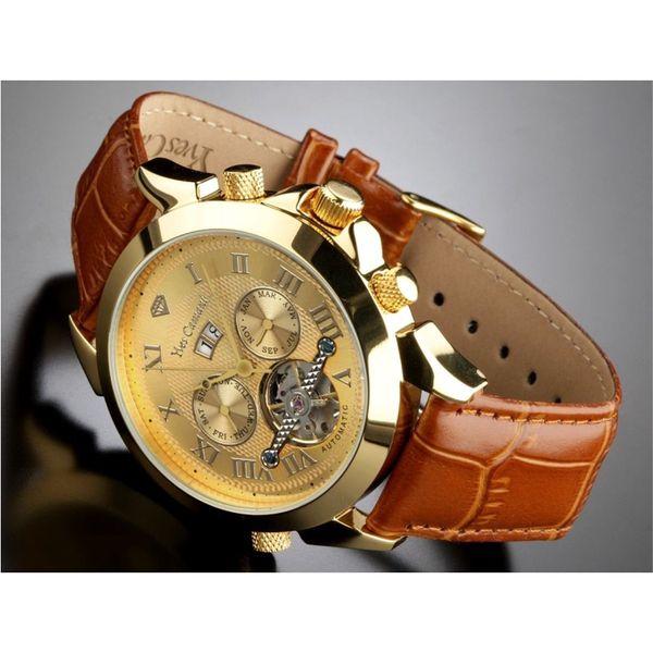 Hodinky Yves Camani zlaté zdobené hnědý pásek