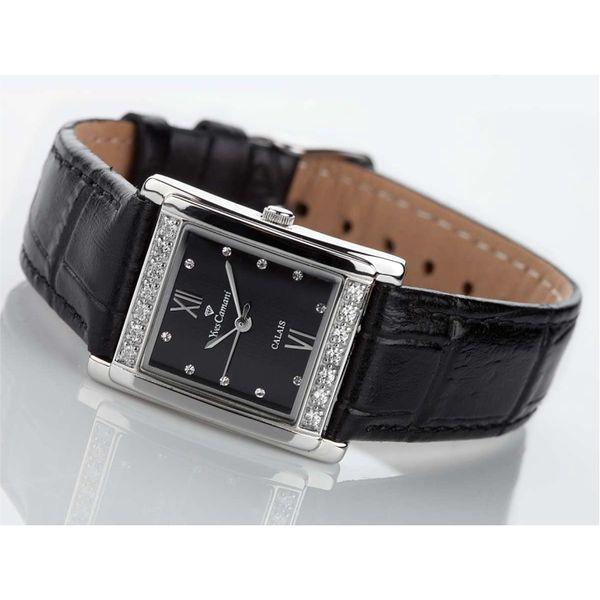 Dámské hodinky Yves Camani černo-stříbrné hranaté s krystaly