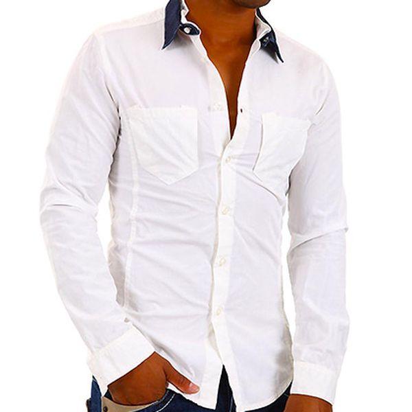 Pánská bílá košile s kapsami