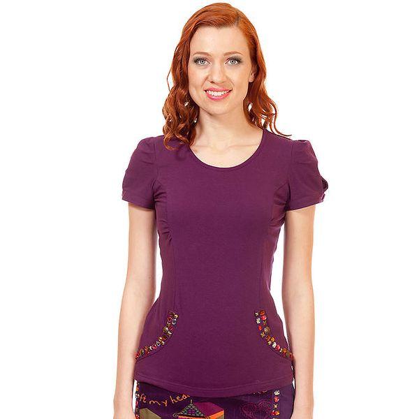 Dámské fialové tričko s korálky Rosaltia McGee