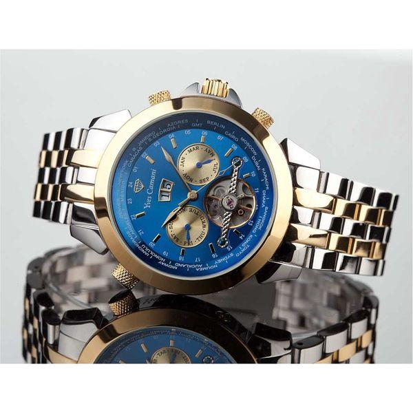 Hodinky Yves Camani zlato-stříbrné s modrou
