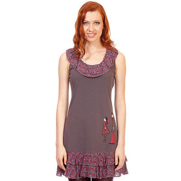 Dámské šedo-béžové šaty s volánky Rosalita McGee