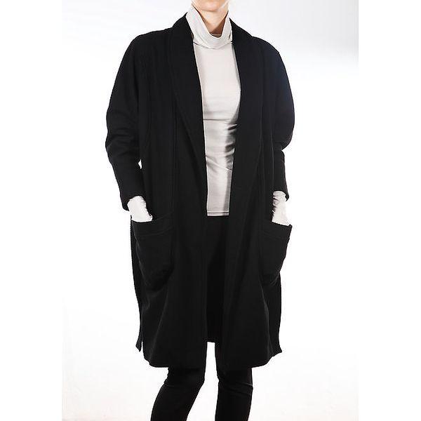 Dámský černý kabát s páskem Gene