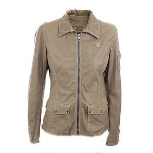 Dámská béžová kožená bunda s prošíváním Aeronautica Militare