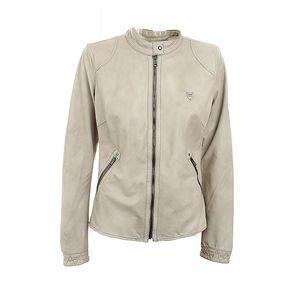 Dámská béžová kožená bunda na zip Aeronautica Militare