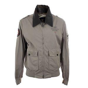Pánská šedá lehká bunda na zip Aeronautica Militare