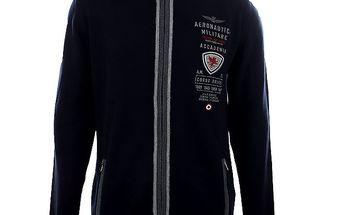 Pánský tmavě modrý vlněný svetr na zip Aeronautica Militare