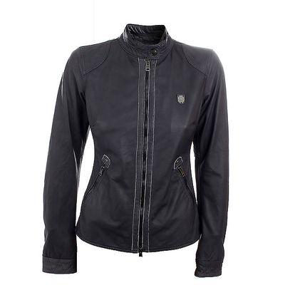 Dámská černá kožená bunda na zip Aeronautica Militare